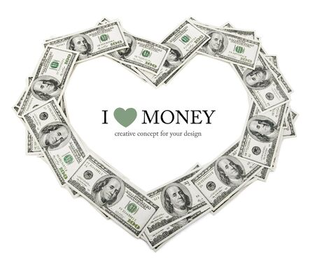 creative heart frame made of dollars money isolated on white background Stock Photo