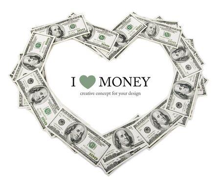 creative heart frame made of dollars money isolated on white background Stock Photo
