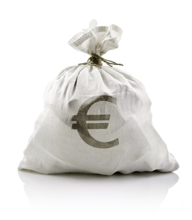 white sack with euro money isolated on white background