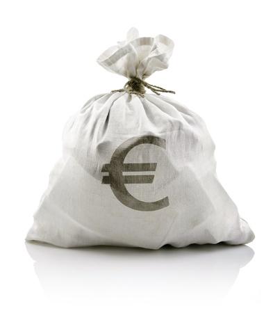 white sack with euro money isolated on white background