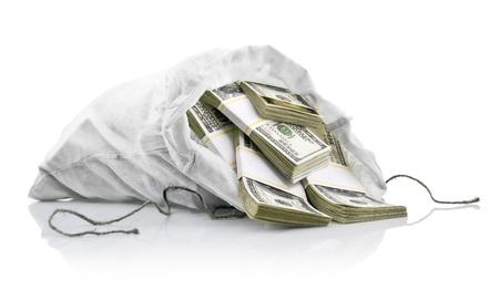 white sack with dollars money isolated on white background