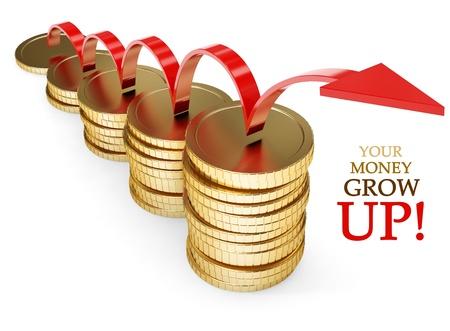 pieniądze: złota moneta rosnąć pieniędzy koncepcji finansowej 3d-ilustracji na białym tle