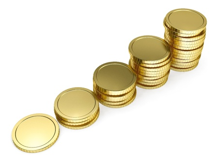 pile of coins: pile of golden coin as stairs 3d-illustration isolated on white background Stock Photo
