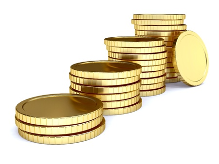 pile of golden coin as stairs 3d-illustration isolated on white background Stock Photo