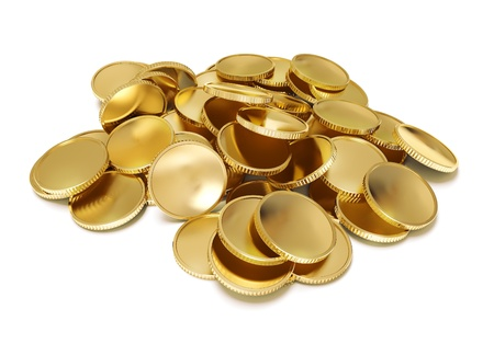 gold coins: pile of golden coin 3d-illustration isolated on white background