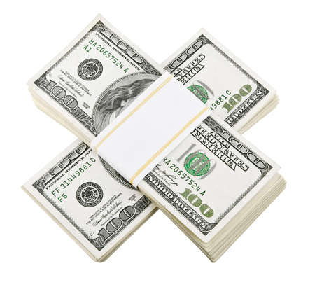 packed dollar money isolated on white background