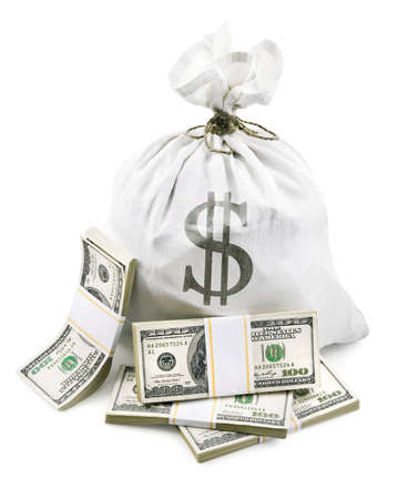 full sack with dollars money packed in bundles isolated on white background