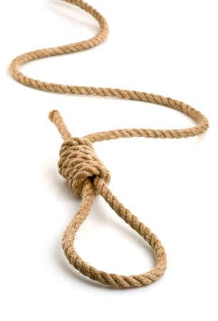 loop hempen rope isolated on white background Stock Photo