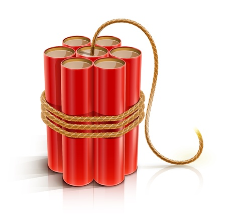 batch of dynamite sticks with burning bickford fuse illustration isolated on white background.