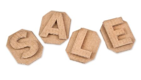 word sale made of cardboard retro isolated on white background Stock Photo