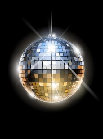 mirror ball: espejo de bola de discoteca vector EPS10 ilustraci�n. Los objetos transparentes y las m�scaras de opacidad para las sombras y las luces de dibujo