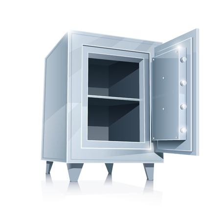 open empty metallic safe  Illustration