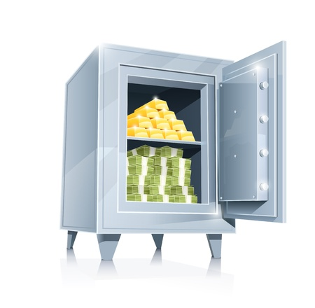 open metallic safe with gold and money illustration  Vettoriali