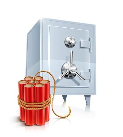 close metallic safe with bomb illustration  Vettoriali