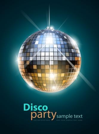 retro disco: espejo de bola de discoteca