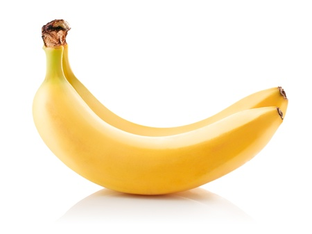 two ripe yellow bananas isolated on white background
