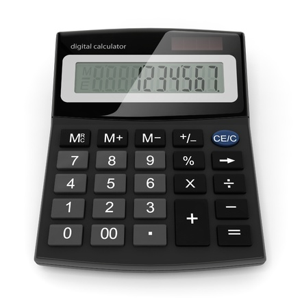 digital calculator 3d-illustration isolated on white background