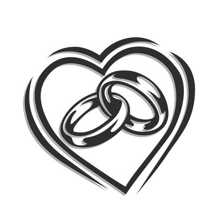 esküvő: jegygyűrű szív illusztráció elszigetelt fehér háttér