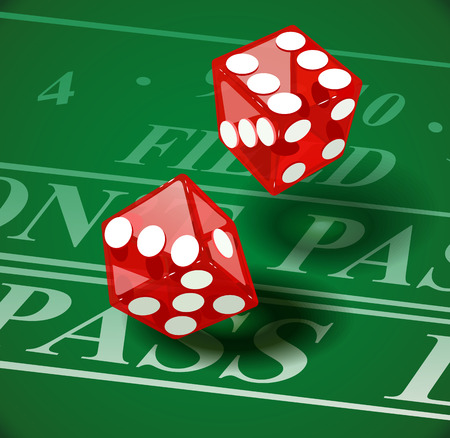 ardour: Playing die on casino table.  Illustration