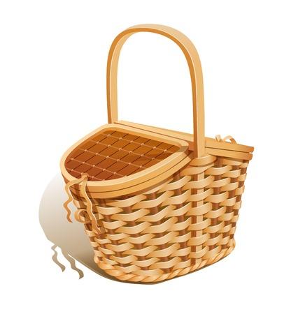 ピクニック用バスケット。Eps10 ベクトル イラスト。白い背景で隔離
