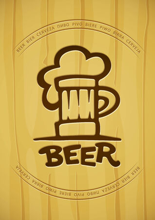 Sign of mug with beer contours silhouette on wooden background.