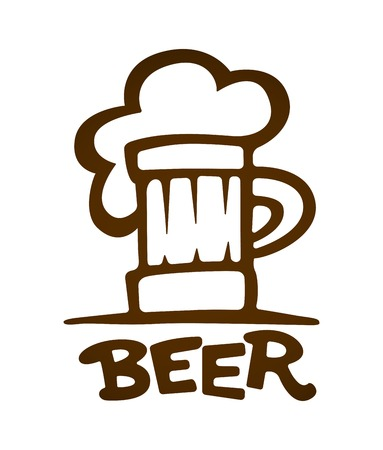 Sign of mug with beer contours silhouette.  Illustration