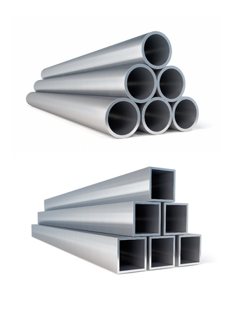 Piles of metallic pipes circle and square metal rollings. 3d rendered illustration. Isolated on white background. Clipping path included