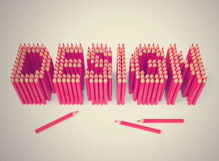 Vintage retro styled design sign in instagram colors, creative art layout made of pencils. 3d rendered illustration Stock Photo