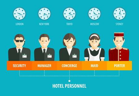 seguridad laboral: Estructura de personal del hotel infograf�a. Vectores