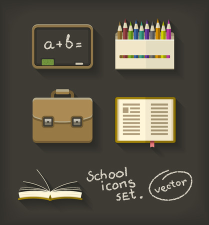 School flat icons book pencil briefcase and blackboard. Eps10 vector illustration Illustration