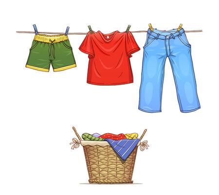 ropa colgada: Ropa en cuerda y cesta con desgaste. Ilustraci�n vectorial Eps10. Aislado en el fondo blanco Vectores