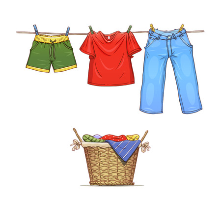 Clothes on rope and basket with wear. Eps10 vector illustration. Isolated on white background Vettoriali