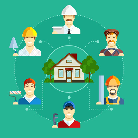 maintenance technician: Building occupation with house. Set of flat icons. Set of flat icons.