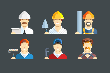 personnel: Building occupation. Set of flat icons.