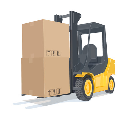 Loader car with boxes. Eps10 vector illustration. Isolated on white background