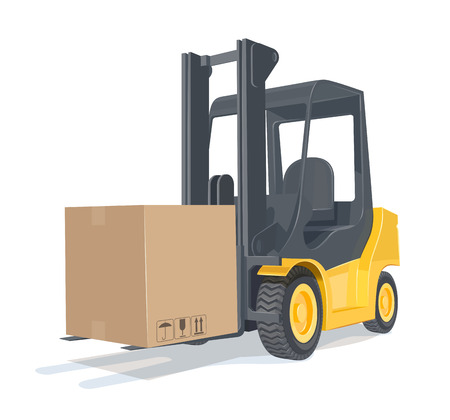 car loader: Loader car with box. Eps10 vector illustration. Isolated on white background
