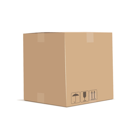 packed: Cardboard box. Eps10 vector illustration. Isolated on white background Illustration