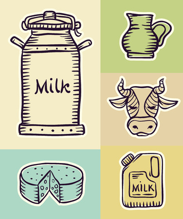 dairy products: Milk and dairy products hand drawn set draft sketch.  Illustration