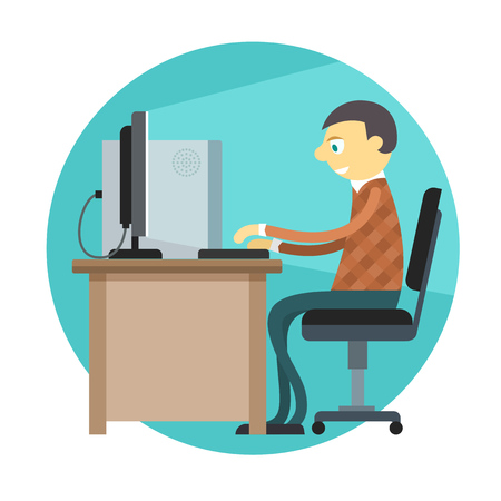personal computer: Office man working by personal computer.