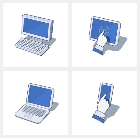 Personal computer and mobile devices. Set of Eps10 vector icon  illustrations. Isolated on white background Illustration
