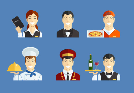 Restaurant service. Set of Eps10 flat vector icons  illustration