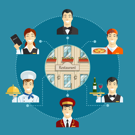 Restaurant service. Set of Eps10 flat vector icons  illustration
