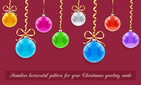 flaring: Seamless horizontal pattern for Christmas card with balls and ribbons. Eps10 vector illustration