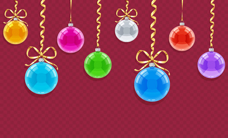 Seamless horizontal pattern for Christmas card with balls and ribbons. Eps10 vector illustration