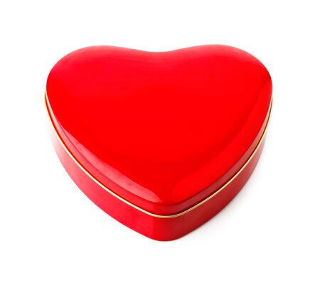 tare: Red gift box in form of heart. Isolated on white background Stock Photo