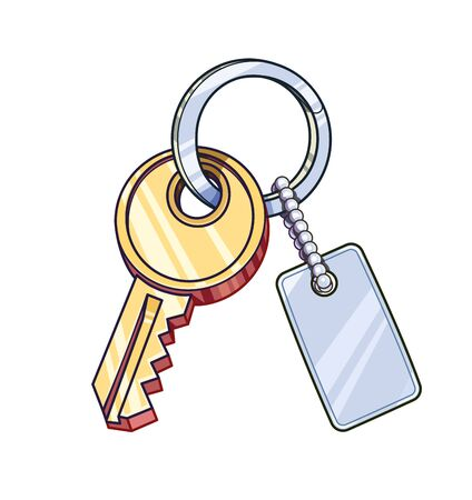 Key with keychain. Eps10 vector illustration. Isolated on white background Illustration