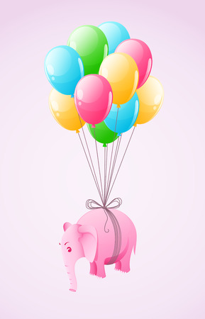 Small pink elephant flying at colourful air balloon vector illustration, eps10