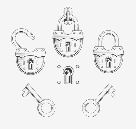 old padlock: Padlock with key. Set of vector illustration, Eps8.  Hanging old lock. Old style padlock. Open Lock. Key open padlock. Vintage Padlock  and Key Illustration