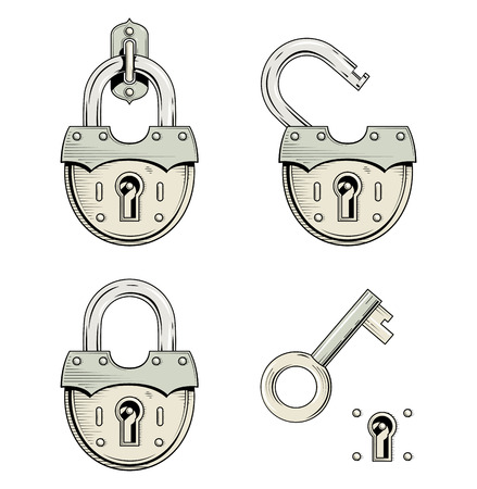 preserve: Padlock with key. Set of vector illustration, Eps8 Isolated white background Hanging old lock. Old style padlock. Open Lock. Key open padlock. Vintage Padlock  and Key