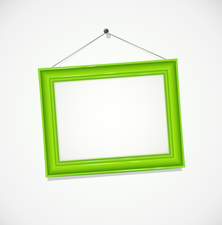 Green frame for photography hang at wall. Decoration for art object. vector illustration, eps10
